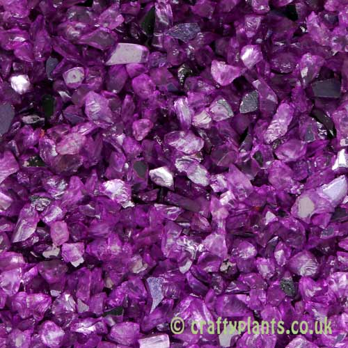 Mirrored lavender glass gravel chippings 250g by craftyplants.co.uk
