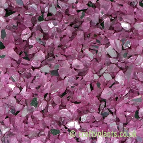250g bag of Mirrored pink glass gravel chippings by craftyplants.co.uk