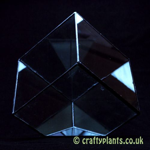 Side view of a 15cm geometric glass terrarium from craftyplants